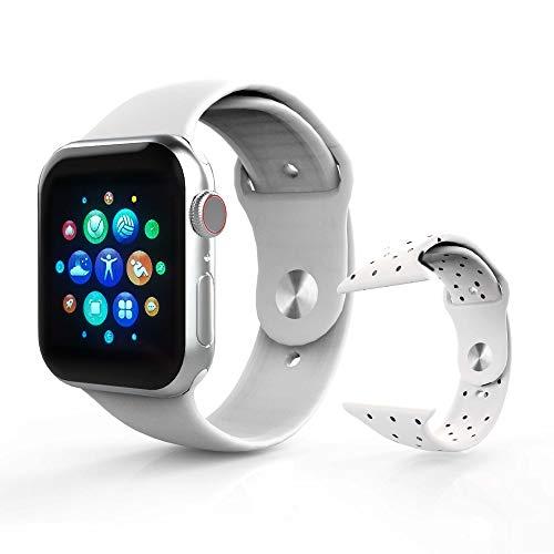 Smartwatch, Quadratische Smartwatch, Fitnessarmband, digitale Sportuhr, kompatibel mit iOS und Android, Weiß