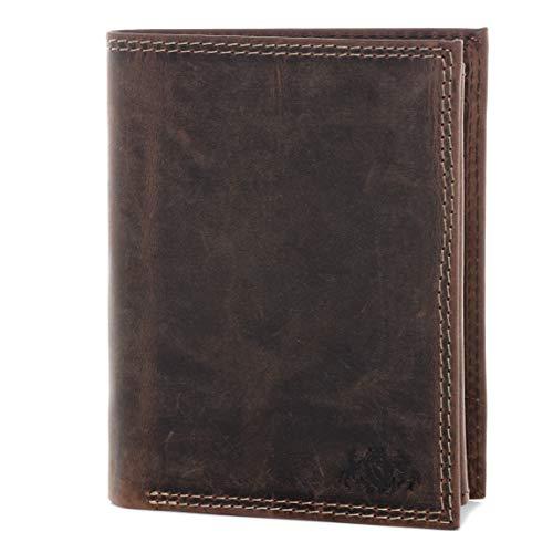 SID & VAIN® portafoglio vera pelle vintage JACK verticale portamonete con più scomparti uomo donna cuoio marrone