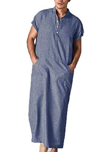 huateng Túnica de los Hombres árabes Musulmanes del Medio Oriente. Camisa Larga Simple.