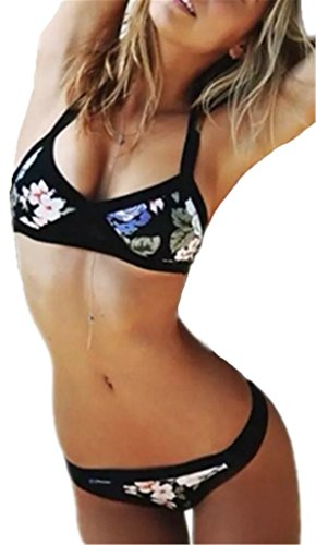 AILIENT Damen Bademode Push Up Bikini Set Spalte-Badeanzug-Bikini Sexy Bademode Triangel Badeanzug Modern Print Bodyformer Unterwäsche Hot Beachwer