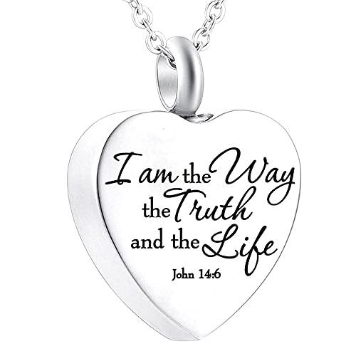 UGBJ Cenizas Guardar Soy la Forma en Que la joyería de entierro de la Verdad y el Fuego de la Vida para el Collar de la urna de Ceniza Collar de corazón Colgante de fe con Kits Hermosos