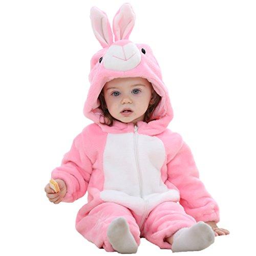 MICHLEY Bebé Ropa Mameluco Niños Niñas Pelele Pijama de Primavera y otoño Franela Traje de Animales, Rosa Edad: 25-30 Meses