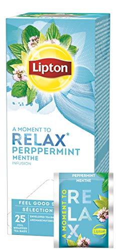 Lipton Pfefferminz Kräutertee (langblättrig, erfrischend), 6er Pack (6 x 25 Teebeutel)