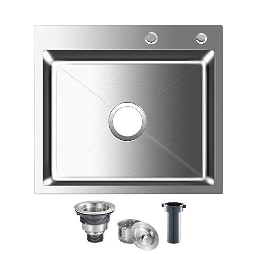 ROVOGO Drop-in 21.6 x 17.7 inch Stainless Steel Single Bowl 2-Hole Kitchen Sink, Top Mount Handmade Bar Prep Sink with Drain Kit