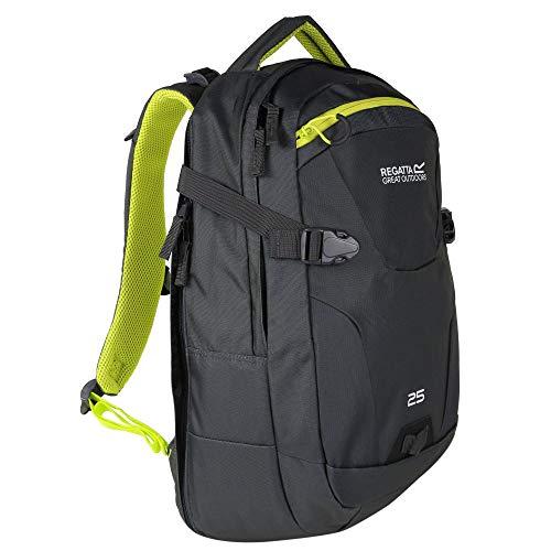 Regatta Paladen Hardwearing Padded Travel Laptop Bag Backpack - Ebony/Neon Spring, 35 Litre