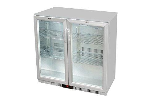 Glastür-Kühlschrank 90 x 90 x 52 cm silber | Getränkekühlschrank mit Flügeltür, Flaschenkühlung, Bierkühlung | Gewerbekühlschrank mit 208 L Kühlvolumen | Untertheke mit manueller Temperaturkontrolle