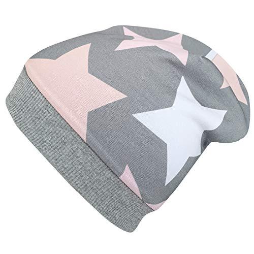 WOLLHUHN ÖKO Warme Beanie-Mütze BIG STARS grau / rosa / pink MIT FLEECEFUTTER, für Mädchen, 20171226, M: KU 51/53 (ca 3-6 Jahre), BIG STARS grau / rosa / pink