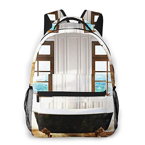 Laptop Rucksack Schulrucksack Badezimmer Eisen Badewanne, 14 Zoll Reise Daypack Wasserdicht für Arbeit Business Schule Männer Frauen