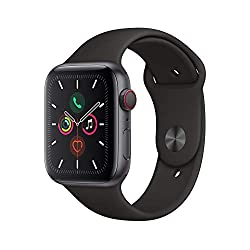 Apple Watch Series 5 (GPS + Cellular, 40mm) - Space Gray Aluminum Case with Black Sport Band - Health smartwatch for people with small wrists - Best thinnest smartwatch for sports, fitness and outdoorsmen