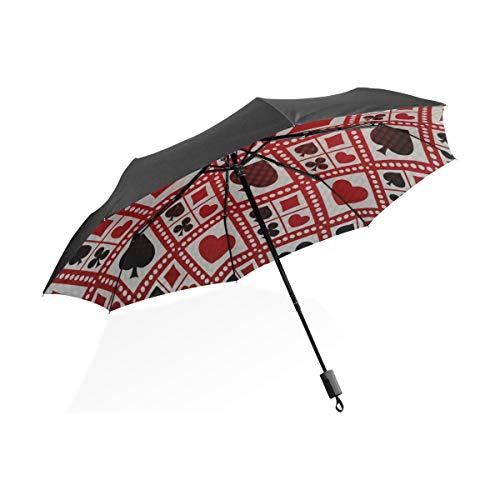 Paraguas invertido para hombres Icono Rojo Negro Espectáculo Juguete Divertido Poker Portátil...