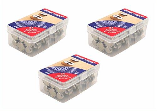 intervisio | 72 Picollo Puntine Magnetiche in Acciaio Inox per Mappe Bacheca Lavagna Pannelli Magnetici a Frigoriferi | Neodimio Magnet | Ø 12 x 16 mm Piccoli Metallo Potenti Coni Magneti