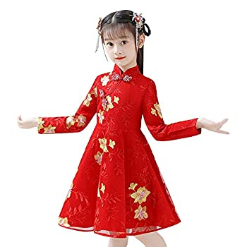 chinese new year dress girl Embroidery Tang Suit kids Festival Traditional Hanfu Dresses baby Cheongsam clothes 2021 -China Red-3_6-7 Years