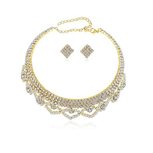 yasu7 Juego de joyas de novia para boda, con colgante de lágrima de cristal, collar y pendientes