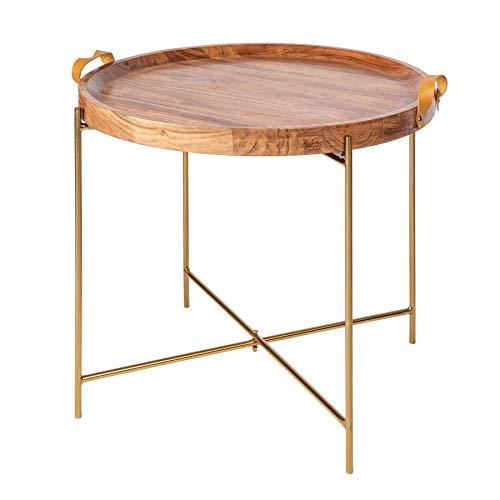Invicta Interior Massiver Couchtisch Monsoon 55cm Gold Akazienholz abnehmbares Tablett Wohnzimmertisch Tisch