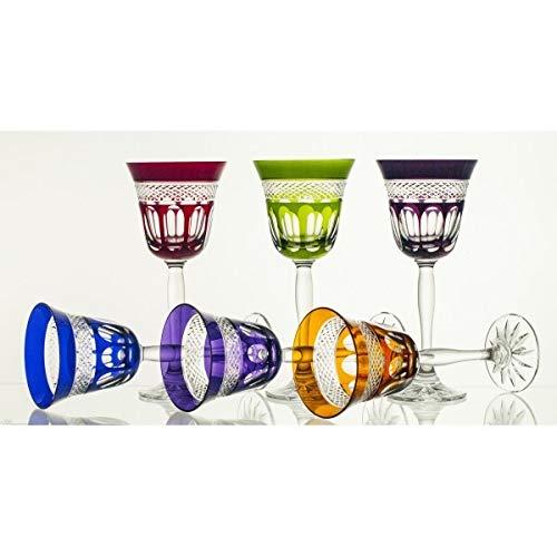 CRISTALICA Weißweinglas 6er-Set 170ml Weinkelch Retro Kristallglas geschliffen bunt