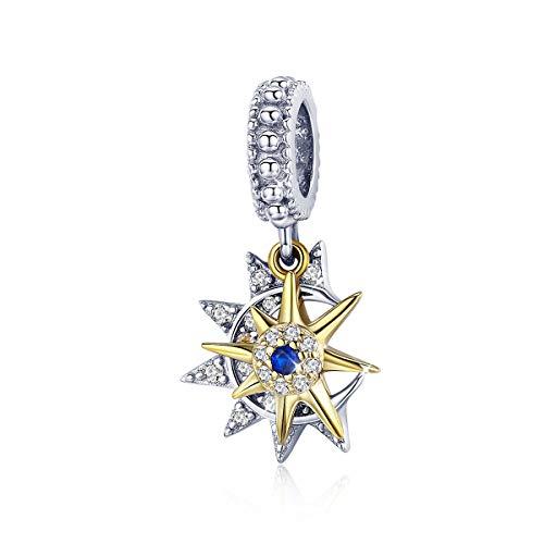 Abalorio de plata de ley 925, diseño de sol y luna, circonita, compatible con pulseras Pandora