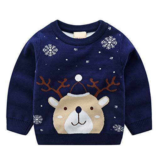 JiAmy Bambino Natale Maglione Felpa a Maglia Inverno Cotone Pullover Manica Lunga Cervo Blu 4-5 Anni