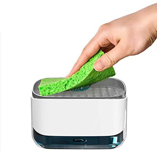 Dispensador de jabón Bomba de jabón Esponja Caddy Esponja Almacenamiento de toallitas Caja de jabón de Cocina para Suministros de Limpieza de Cocina Organice fácilmente el detergente de Cocina