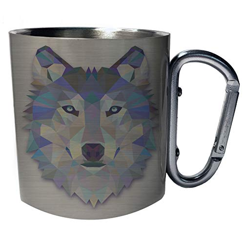 Origami Wolf Wasserfarben Edelstahl Karabiner Reisebecher 11oz Becher Tasse o56c