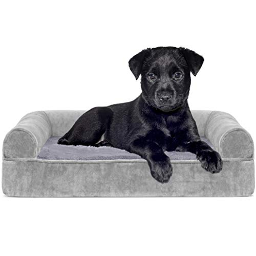 Furhaven Pet Dog Bed - Orthopedic Faux Fur and Velvet Traditional...