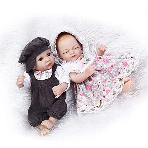 Återfödelse docka leksak, full silikon kropp realistisk handgjord prinsessa barn docka, mjukt gummi baby badleksaker för julklapp,Twins,27cm