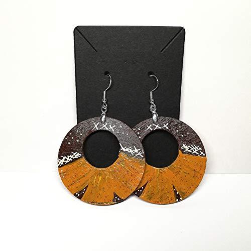 Pendientes de aro de madera pintados a mano idea de regalo de joyería mujeres grandes colgantes de aros largos