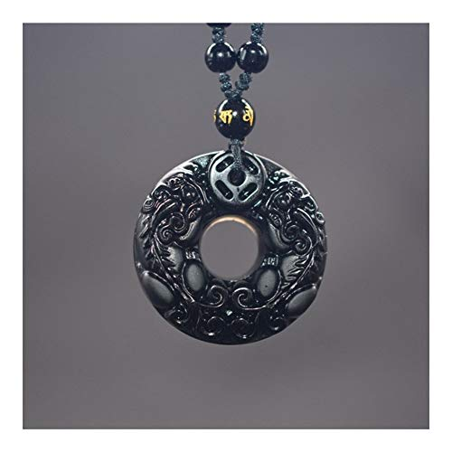 FKJSP Talla De Obsidiana Círculo Pixiu Amuleto Colgante Colgante De Collar