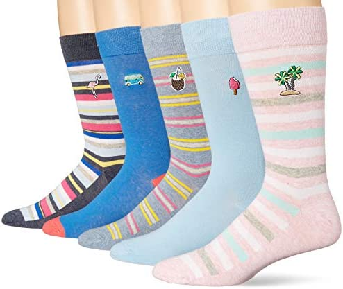 Amazon Brand Goodthreads Men s 5 Pack Patterned Socks Island Embroidery Pack One Size product image