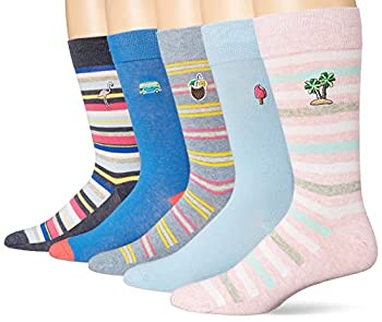 Amazon Brand - Goodthreads Men s 5-Pack Patterned Socks Island Embroidery Pack One Size