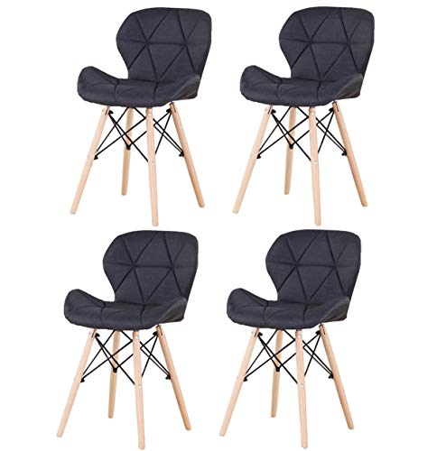sedie sala da pranzo 8 pezzi Set di 8 sedie ergonomiche classiche in pelle vellutata e lino per sala da pranzo