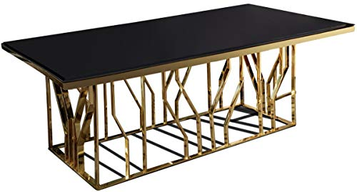 Casa Padrino Mesa de Comedor de Lujo Oro/Negro 200 x 100 x A. 77 cm - Mesa de Cocina Rectangular de Acero Inoxidable con Tapa de Vidrio - Muebles de Comedor de Lujo