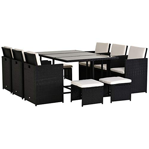 Outsunny 11PC Rattan Garden Furniture Outdoor Patio Dining Table Set Weave Wicker 10 Seater Stool Black