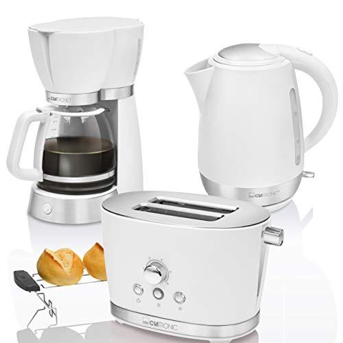 Clatronic Vintage Set Frühstück, Kaffeemaschine 15 Tassen Kaffee, Toaster 2 Scheiben, Wasserkocher 1,7 Liter, Weiß, Retro