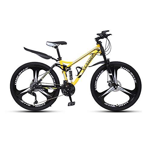 Bicicleta, Bicicleta de Montaña de 24/26', Bicicleta Todo Terreno con 27 Velocidades, con Asiento Ajustable y Cuadro de Acero de Alto Carbono, para Adultos y Adolescentes, Freno de Doble Disco