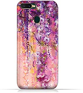 AMC Design Oppo A7 TPU Silicone Soft Protective Case with Artistic Purple Flowers Pattern