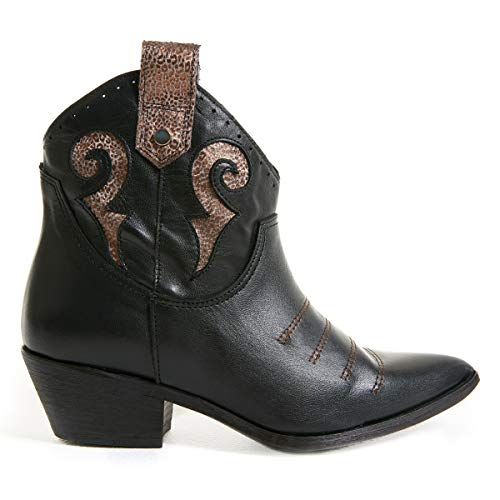 Marsida Carol Dames-laarzen van zwart leer in Texan-stijl met vierkante hak, micro-Camoscillleerd, gemaakt in Italië
