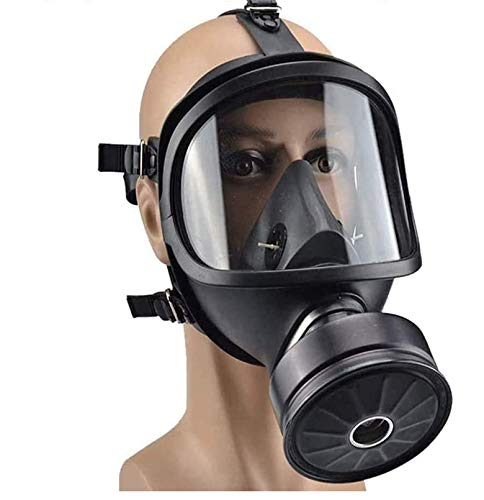 Full Face Respirator Mask Reusable Silicone Gas Mask Eye Protection, Airsoft Protective Facepiece Cover Mask with Work Filters, Anti-fog Lens Wide View Respirator for Painting Dust Outdoor Protection
