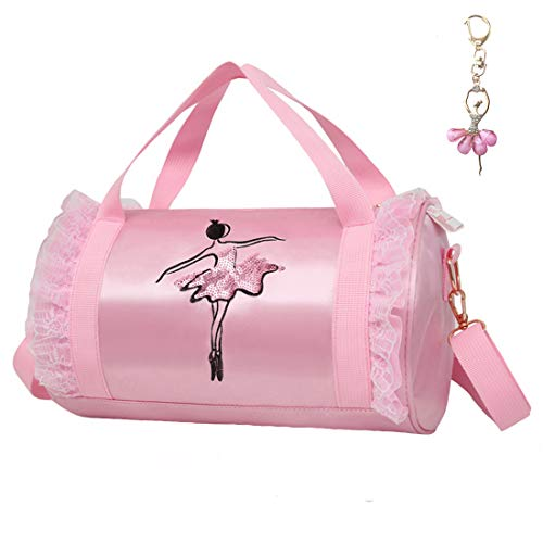 Cute Ballet Dance Bag with Key Chain Girls (Pink2 of Short Mesh)