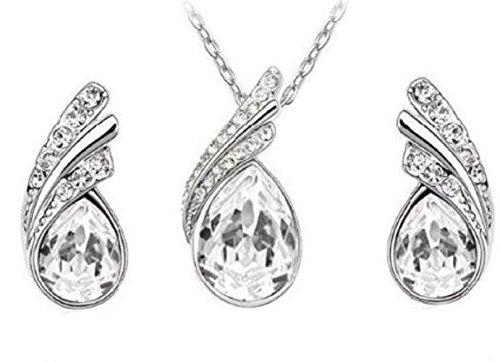 Lorelys – Juego de collar con colgante de 2 pares de pendientes con cristal transparente engastado con pequeños cristales transparentes brillantes chapado en oro blanco y rodio.