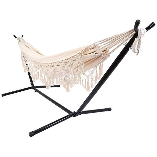 QUYUON Hammock with Stand and Spreader Bar, Extra Large Canvas Cotton Nordic Tassel Swing with Carrying Bag for Patio Porch Garden Backyard Lounging Outdoor and Indoor (Beige)