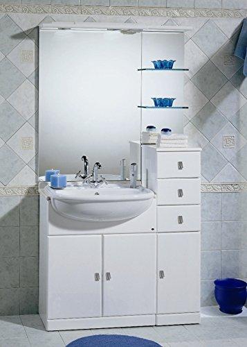 Bagno Italia Badezimmermöbel Cleo cm 70+30 mit eeiß glänzend Halbeinbau Waschbecken mit Top aus Marmor