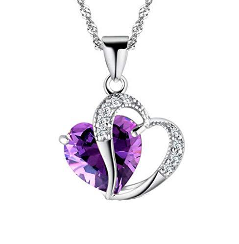 MTRSUE Collar del corazón para Las Mujeres, Colgante del Amor del corazón con el Collar Cubic Zirconia y el Infinito, 925 Collar de Plata del corazón de la Novia