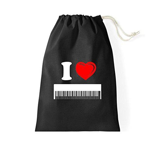 Krokodil Turnbeutel I love Keyboard Musik Gymsack Kultsack schwarz