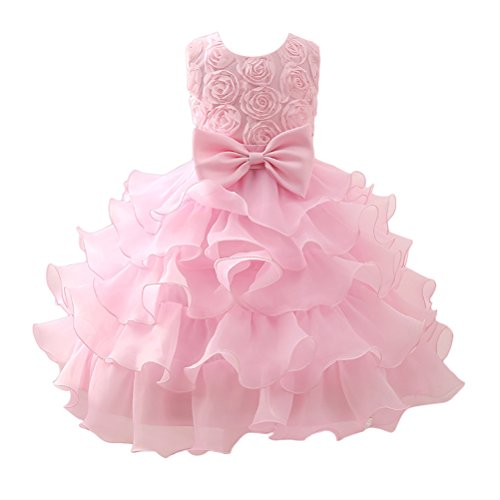 Zhhlinyuan 0-12 Year Old,Mode Baby Girls Sleeveless 3D Flowers Princess Dress Kids Tulle Party Pageant Wedding Bridesmaid Tutu Dresses