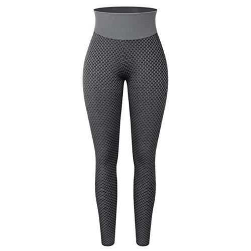 Useqeddjs Pantalones de Yoga de Cintura Alta con Levantamiento de glúteos Fruncidos para Mujer, Mallas de Entrenamiento elásticas con Control de Abdomen, Mallas con Textura de botín