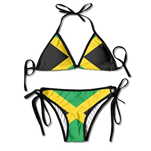 MSGDF Flag of Jamaica Sexy Boxing Bikini Women Halterneck Top and Set Swimsuits Beach Swimming