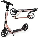 Movino Comfort+ City Scooter | Handbremse | mit klappbar und höhenverstellbar |Scootermit ABEC 7 Kugellagern |breite Räder XXL | Stoßdämpfer | für Kinder & Erwachsene | Gewicht 5,3 kg (Rosa)