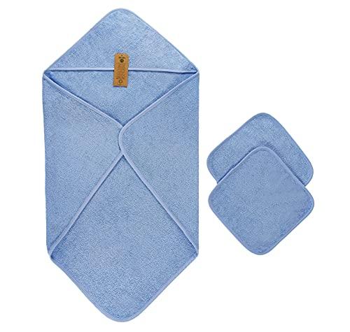 Set Asciugamani per Neonato, 1 x Asciugamano Spugna con Cappuccio 90 cm x 90 cm, 2 x Asciugamani Morbidi per Neonati 30 cm x 30 cm, 100% spugna-cotone biologico, blu chiaro