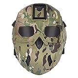 WISEONUS Máscara de paintball protectora de airsoft máscaras de cara completa Caza CS juego Halloween Cosplay máscara con visión nocturna adaptador base Camo CP