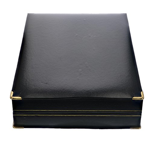 Vir Jewels Black Rectangle Faux Leather Necklace Pendant Gift Box Display Case